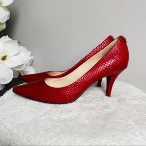 Michael Kors Dorothy flex heels in red snake skin